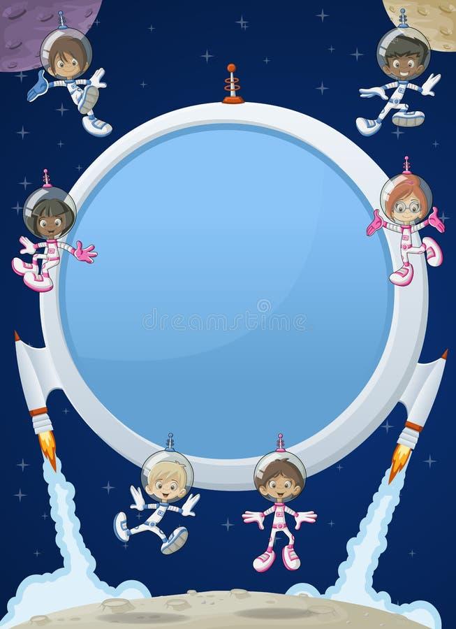 Enfants de bande dessinée d'astronaute illustration libre de droits