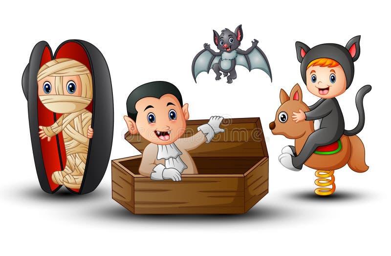 Enfants de bande dessinée dans des costumes de Halloween illustration de vecteur