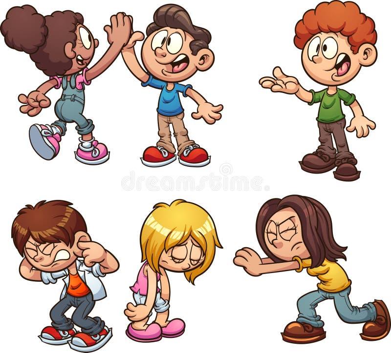Enfants de bande dessinée effectuant différentes actions illustration de vecteur
