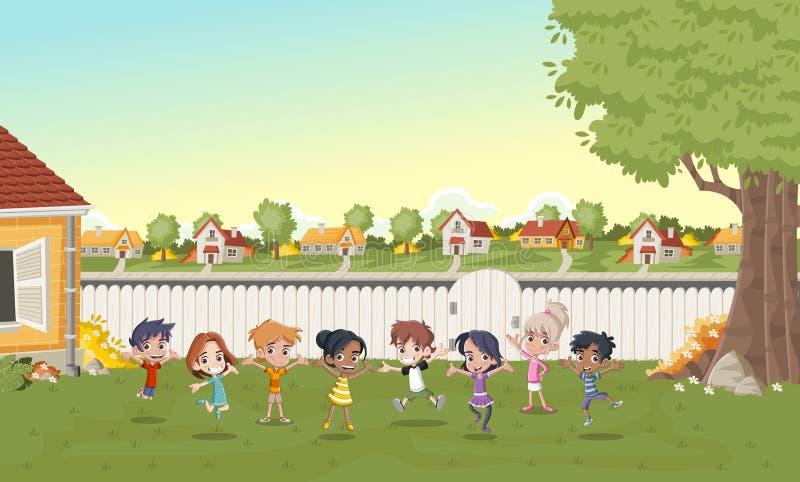 Enfants de bande dessinée jouant dans le voisinage de banlieue illustration de vecteur
