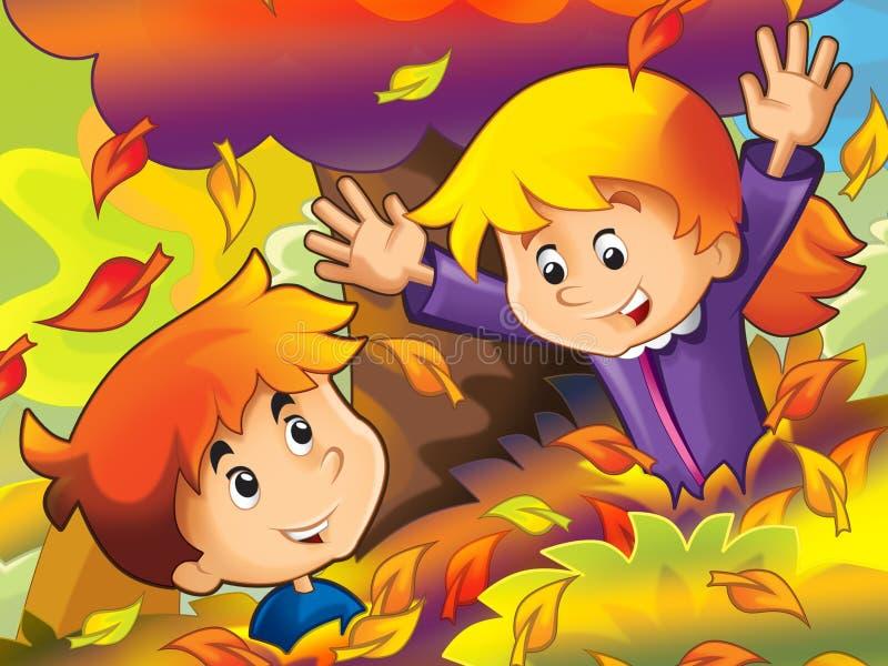 Enfants de bande dessinée jouant en stationnement - automne illustration de vecteur