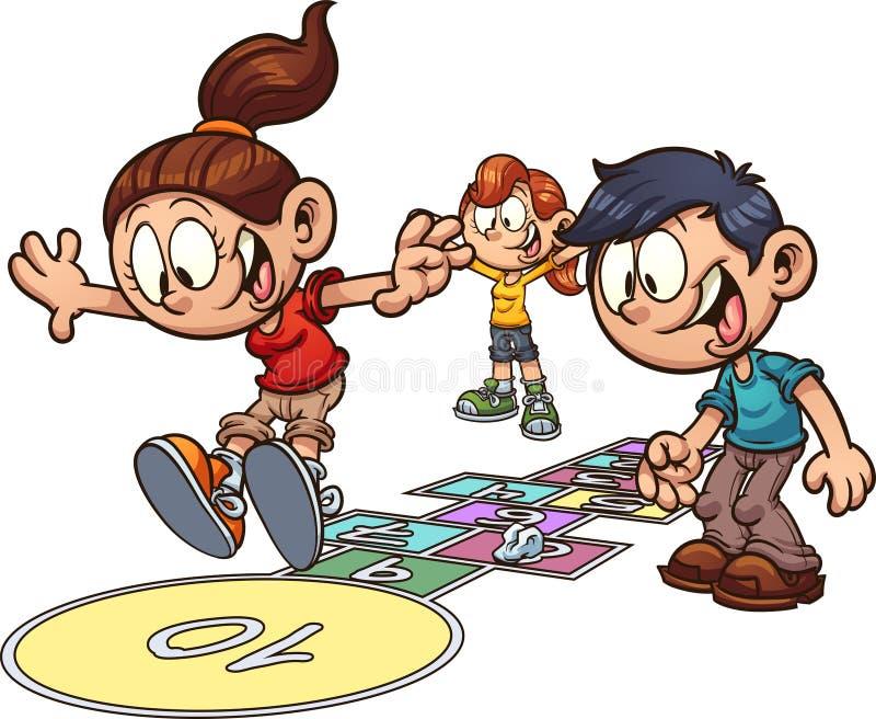 Enfants de bande dessinée jouant le jeu de marelle illustration stock