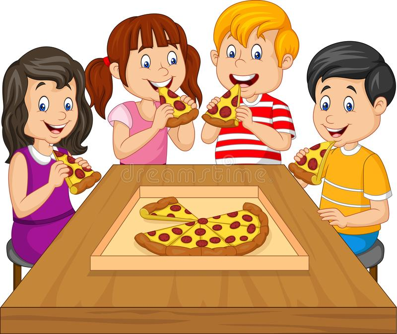 Enfants de bande dessinée mangeant de la pizza ensemble illustration de vecteur