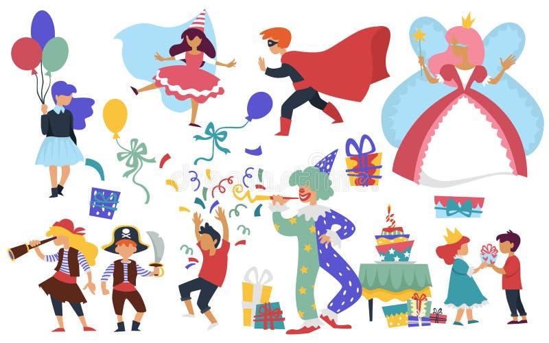 Enfants de clown et de gâteau de partie de costume d'anniversaire d'enfant illustration libre de droits