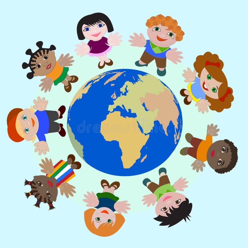 Enfants de concept de rêve différent de nations de paix sur terre illustration libre de droits