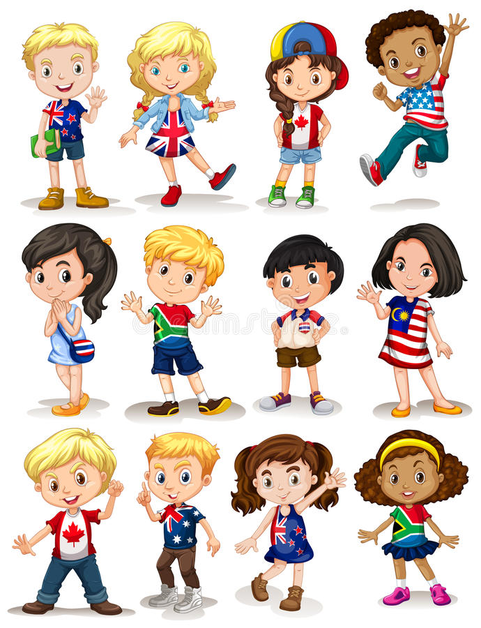 Enfants de différents pays illustration libre de droits