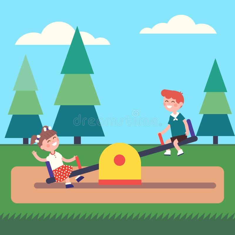 Enfants de garçon et de fille balançant sur la bascule au parc illustration libre de droits