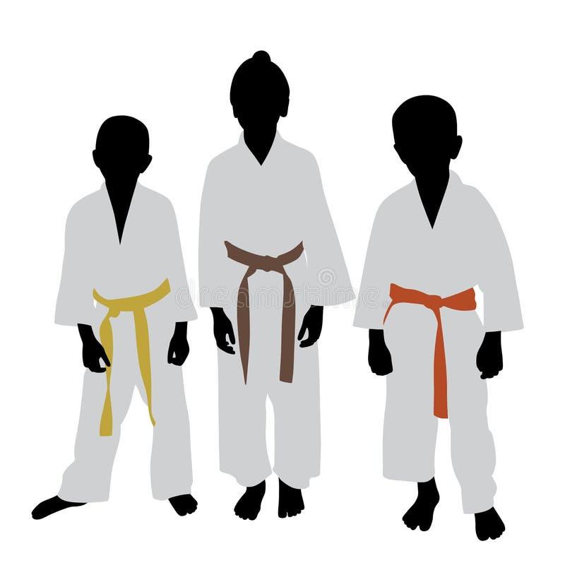 Enfants de karaté avec le grade différent de ceinture de couleur illustration libre de droits