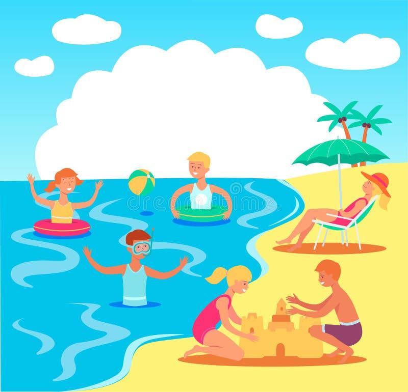 Enfants de l'adolescence de vecteur jouant dans le château de sable de mer illustration libre de droits