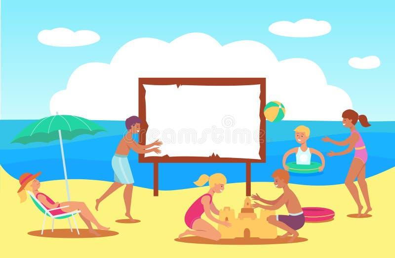 Enfants de l'adolescence de vecteur jouant dans le château de sable de mer illustration stock
