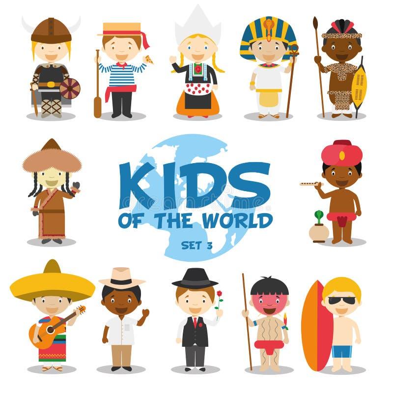 Enfants de l'illustration du monde : Les nationalités ont placé 3 L'ensemble de 12 caractères s'est habillé dans différents costu illustration libre de droits
