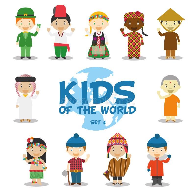 Enfants de l'illustration du monde : Les nationalités ont placé 4 L'ensemble de 11 caractères s'est habillé dans différents costu illustration libre de droits