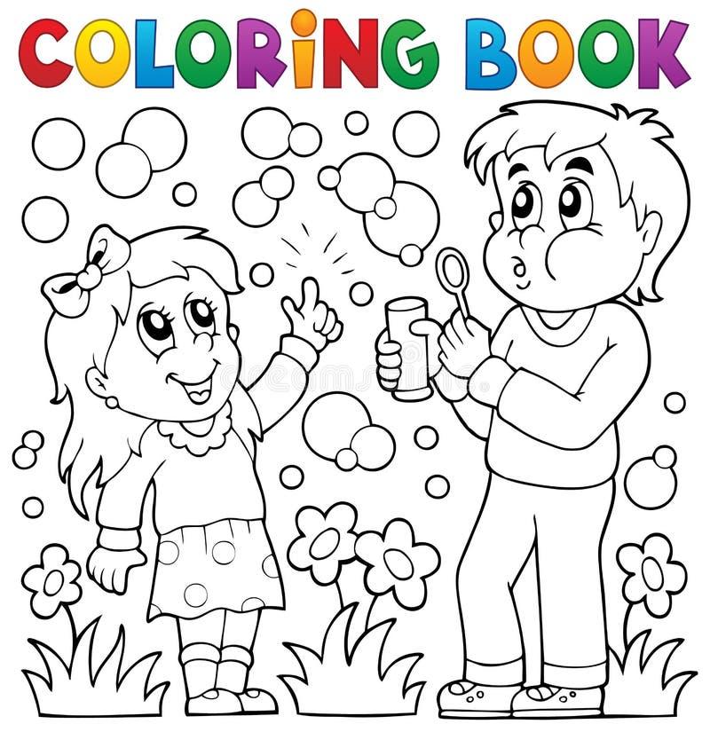 Enfants de livre de coloriage avec le kit de bulle illustration stock