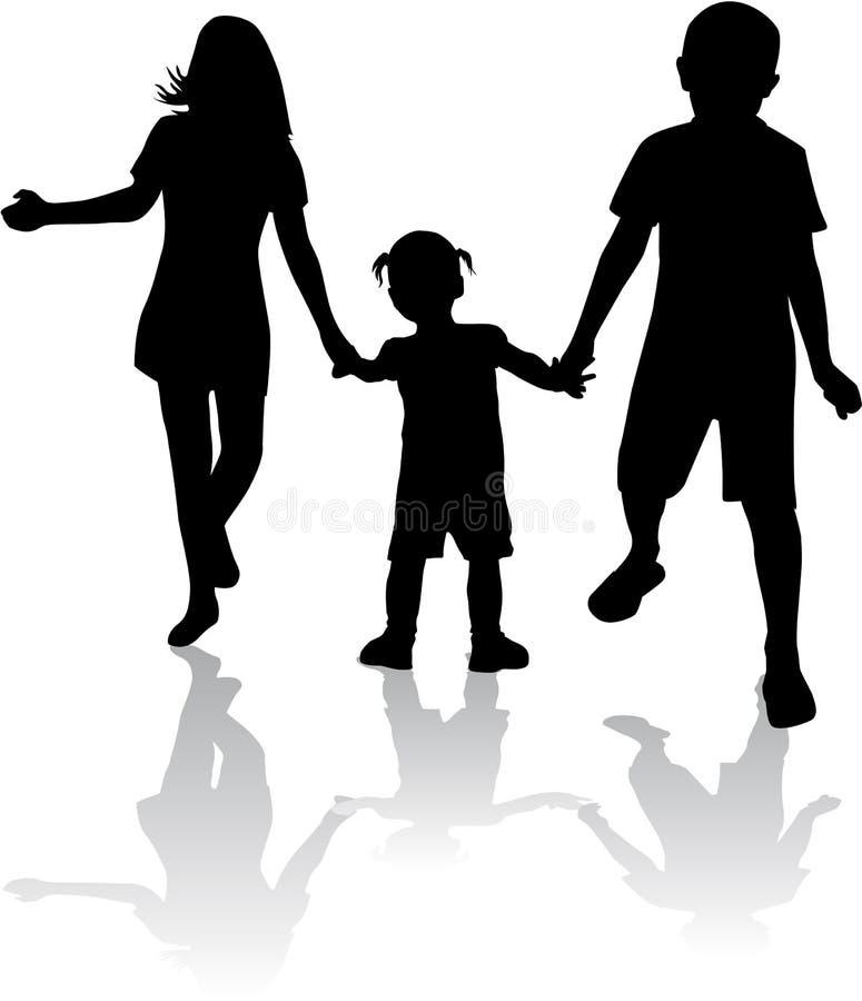 Enfants de mêmes parents - silhouettes illustration stock