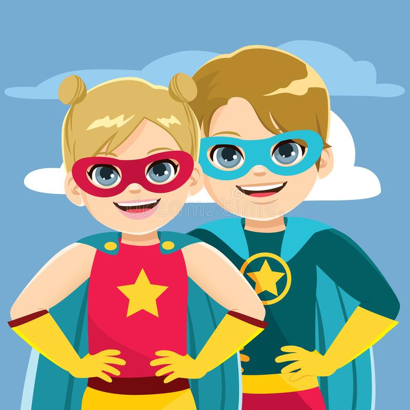 Enfants de mêmes parents de superhéros illustration stock