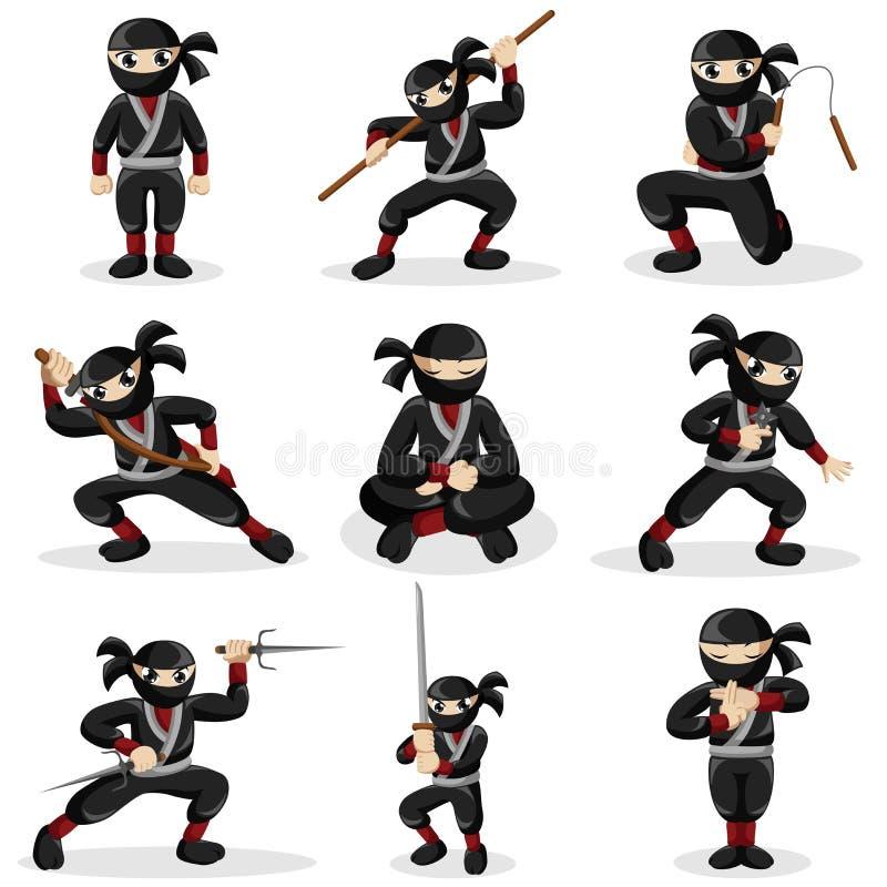 Enfants de Ninja dans différentes poses illustration de vecteur