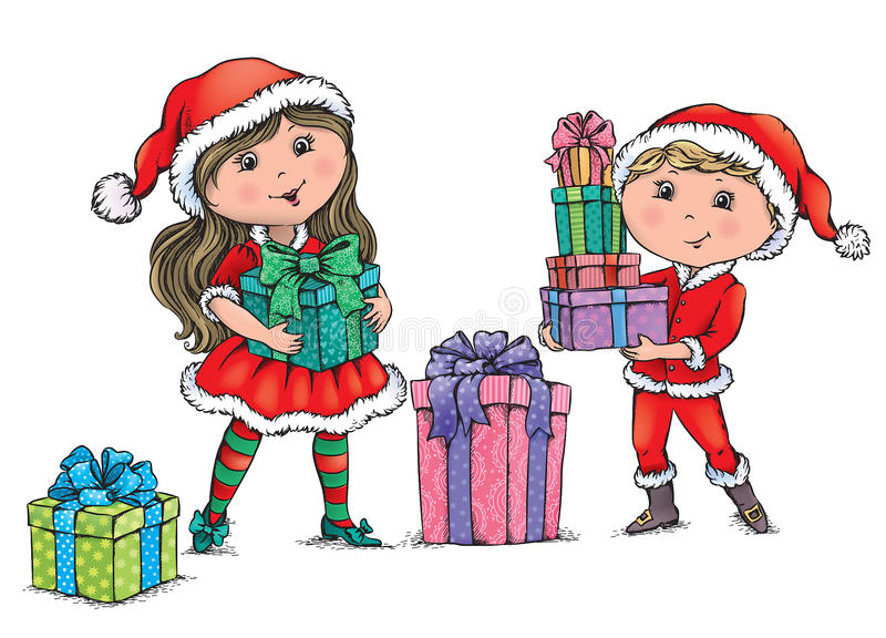 Download Enfants de Noël illustration de vecteur. Illustration du rose - 45356927
