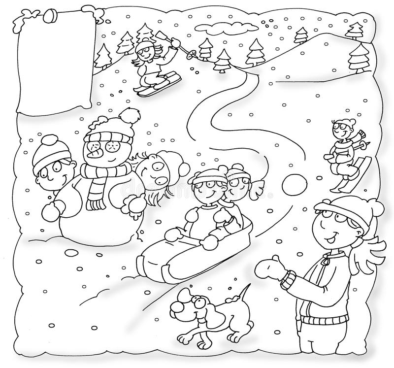 Enfants de Noël avec la neige sledding de chien, montagnes, vacances de Noël illustration libre de droits