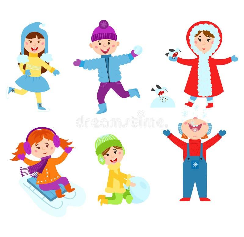 Enfants de Noël jouant des jeux d'hiver illustration stock