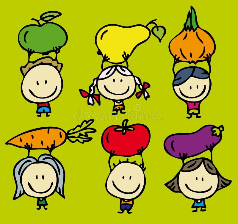 Enfants de nourriture verte illustration stock