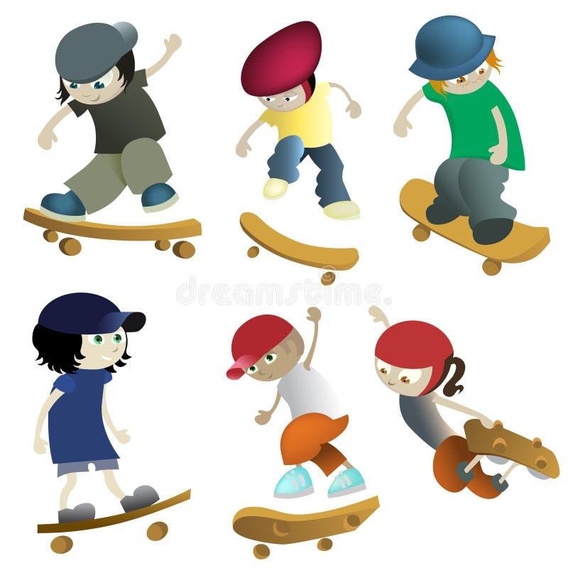 Enfants de patinage illustration de vecteur