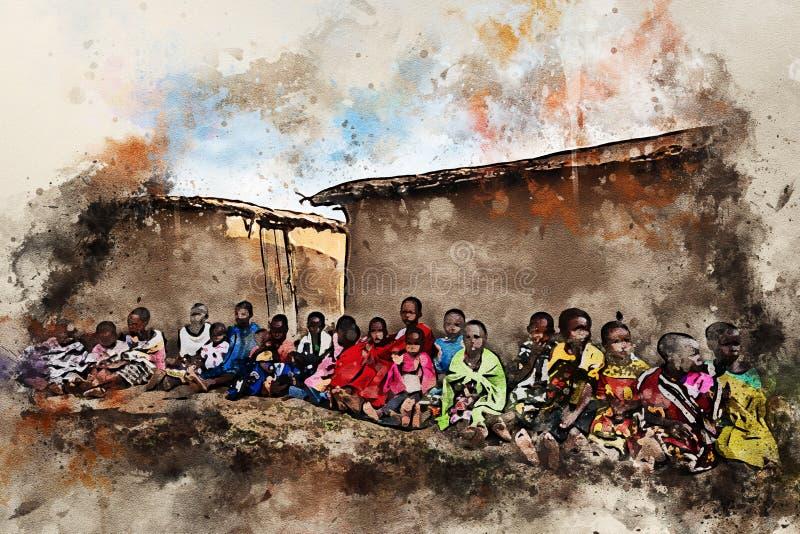 Enfants de siège de tribu de maasai au sol photo libre de droits
