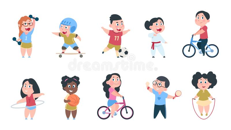 Enfants de sport de bande dessinée Les garçons et les filles jouant la boule, groupe d'enfants montent sur le vélo, font des exer illustration de vecteur