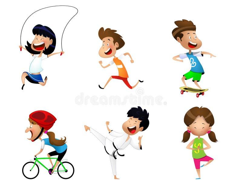 Enfants de sport réglés illustration stock