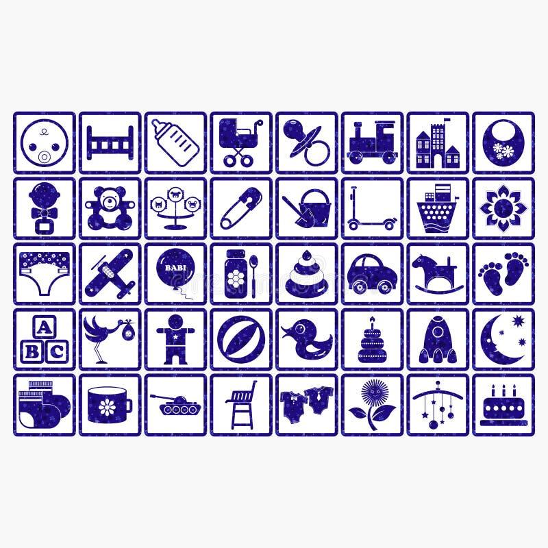 Enfants de symbole de Web d'icône de logo de collection de bébé photos stock