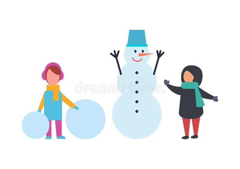 Enfants de vacances d'hiver jouant le vecteur extérieur illustration stock