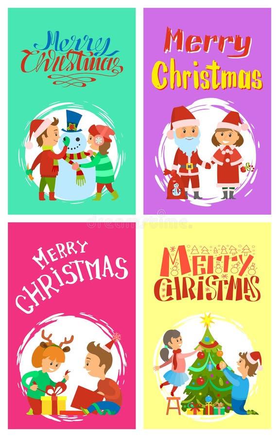 Enfants de vacances de Joyeux Noël construisant le bonhomme de neige illustration libre de droits