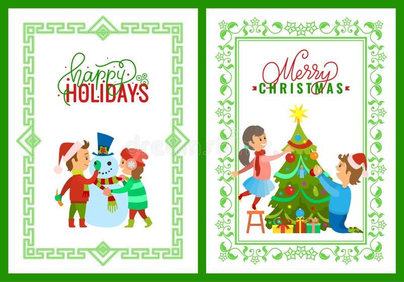 Enfants de vacances de Joyeux Noël jouant l'extérieur illustration libre de droits
