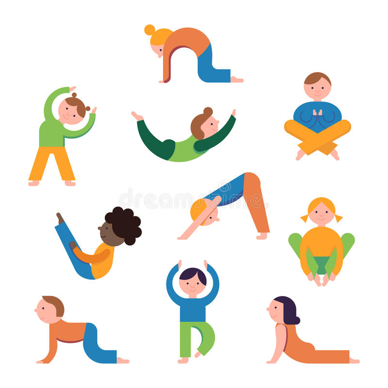 Enfants de yoga réglés illustration stock
