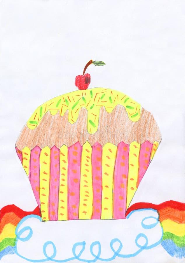 Enfants dessinant avec le crayon d'un petit pain avec la cerise sur le dessus et l'arc-en-ciel ci-dessous illustration stock