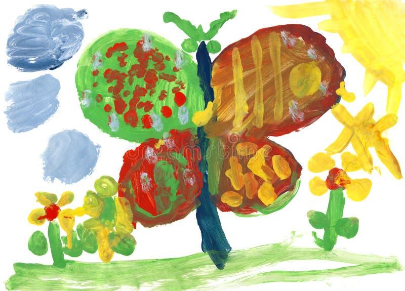 Enfants dessinant - grands guindineau et fleurs illustration stock