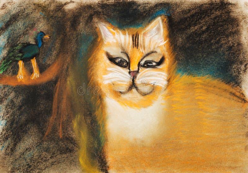 Enfants dessinant - gros chat rouge illustration libre de droits