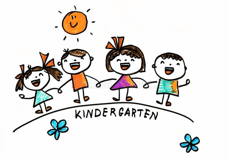 Enfants dessinant le style Enfants de jardin d'enfants avec le soleil Colonie de vacances pour des garçons et des filles apprenez illustration de vecteur