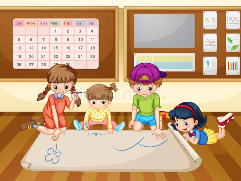Enfants dessinant sur le papier dans la salle de classe illustration de vecteur