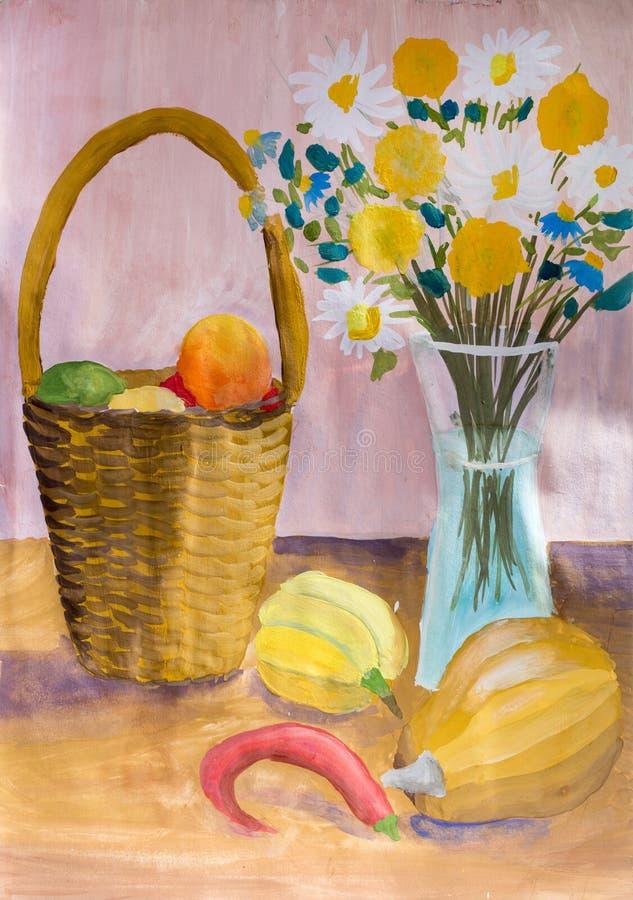 Enfants dessinant toujours la vie avec la nourriture et un bouquet des fleurs illustration stock