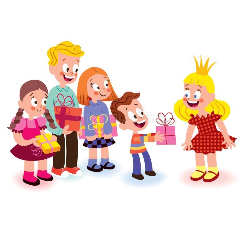 Enfants donnant des cadeaux illustration stock