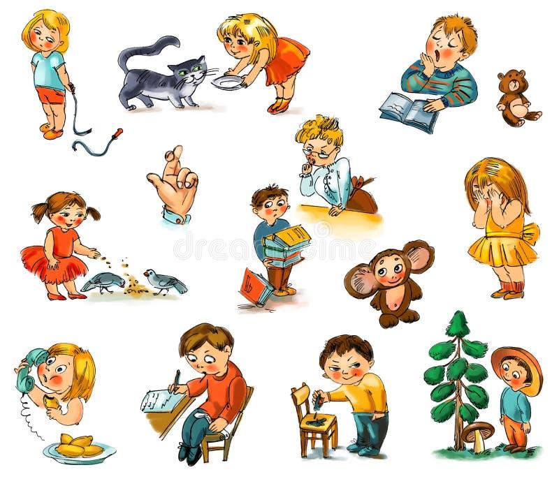 Enfants drôles sur un fond blanc illustration de vecteur