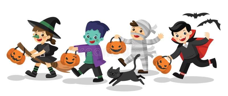 Enfants drôles dans des costumes colorés et un chat illustration libre de droits