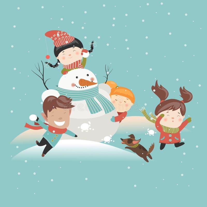 Enfants drôles jouant le combat de boule de neige illustration de vecteur