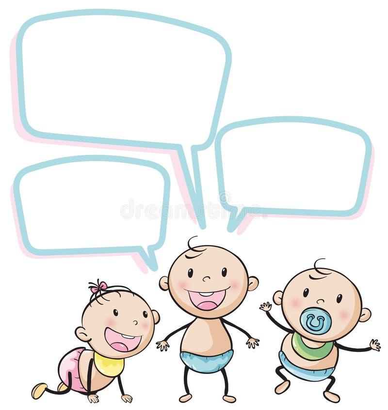 Enfants en bas âge avec des bulles de la parole illustration libre de droits