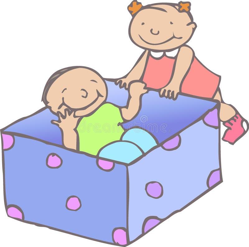 Enfants en bas âge avec le cadre illustration stock
