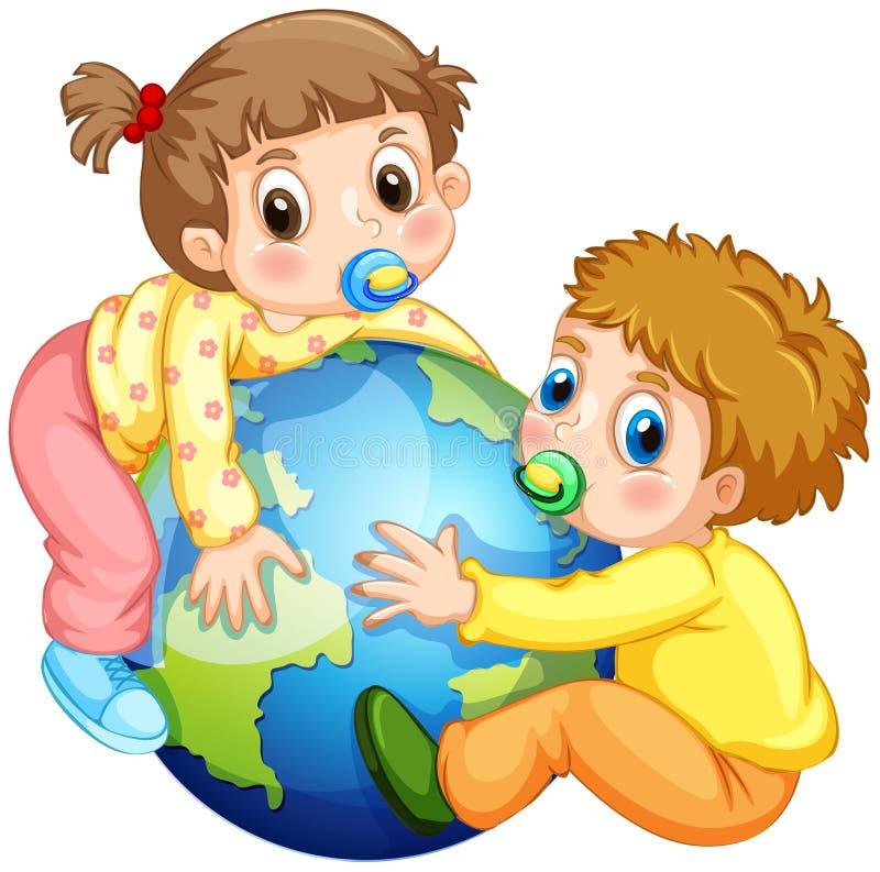 Enfants en bas âge garçon et fille étreignant la terre illustration stock