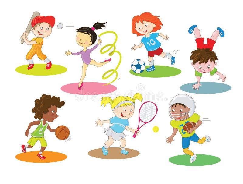 Enfants en bonne santé et actifs heureux faisant des sports d'intérieur et en plein air illustration libre de droits