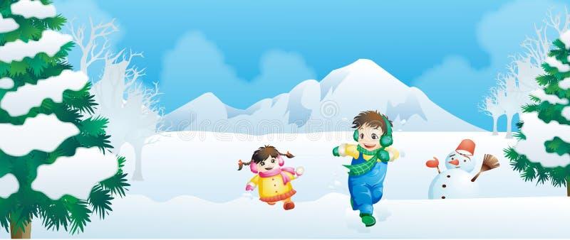 Enfants en hiver illustration stock