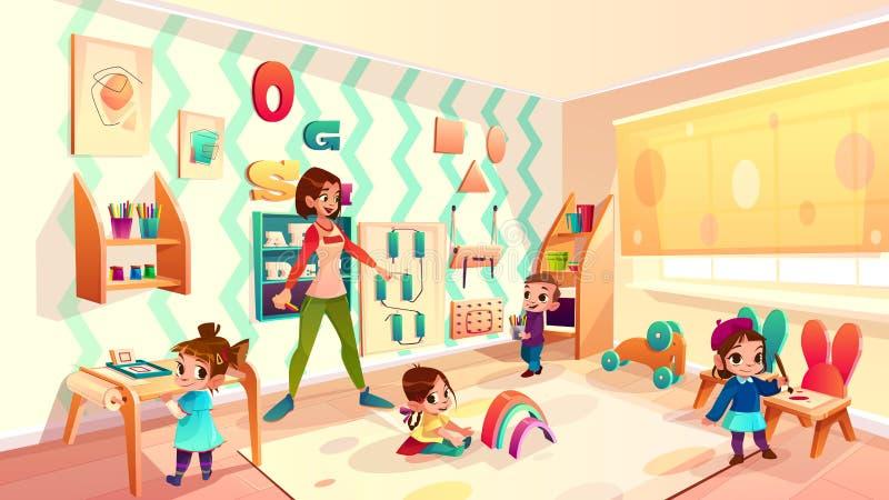 Enfants en vecteur de bande dessinée de salle de classe d'école de Montessori illustration libre de droits