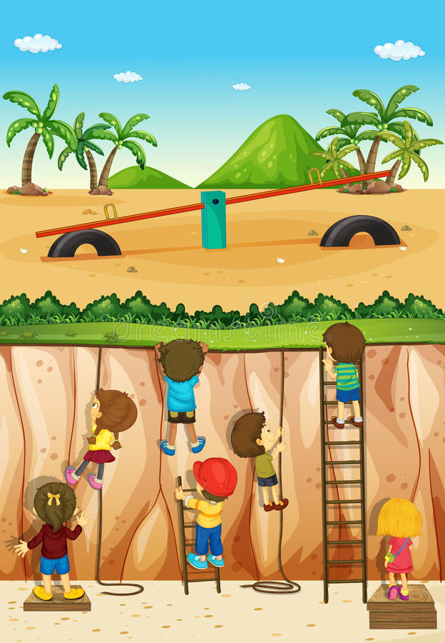 Enfants escaladant la falaise illustration stock